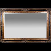 Large 6ft. Vintage Entree Beveled Glass Wall Mirror Ebonized Gilt Wood Frame