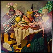"Huge Richard Willenbrink ""Augustus & Napoleon"" Still Life Painting Chicago Artist"