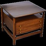 John Widdicomb Mid-Century Modern End Table w Folding Snack Tables