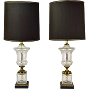 Pair Crystal Mid-Century Classical Urn Hollywood Regency Table Lamps