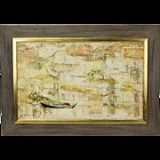 Mid-Century Modern Abstract Port Scene Oil Painting Voldemar Boberman Russian