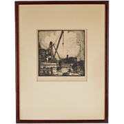 Early 20th Century Woodcut Belmont Harbor Chicago Signed Larson