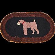 Vintage Depression era American Folk Art Hooked Rag Rug Terrier Dog