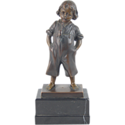 Antique German Bronze Sculpture Barefoot Tyrolean Boy Smoking Jaeger Pipe