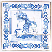 18th Century Delft Tile Picture Saint George Slaying the Dragon