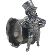 Silver plate Figural Napkin Ring Dapper Young Man Boy in Top Hat