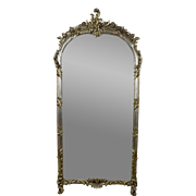 Vintage Labarge French Style Wall Pier Mirror w Silver Gilt Antique Finish