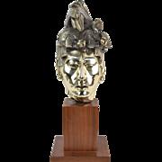 Vintage Mexican Silver Plate Sculpture head of Mayan King Pakal Pacal Teak Plinth