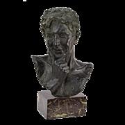 Early 20th century Lodovico Auteri Bronze Bust of Pondering Man Valsuani