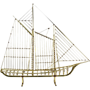 Curtis Jere Mid-century Modern Abstract Skeleton Ship Yacht Metal Sculpture