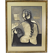 Mid-Century Modern Abstract Portrait Painting Back of Nude Woman sgnd Glassert