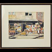 Vintage Louis Kaep Watercolor Painting Jamaican Street Vendors Corner Market
