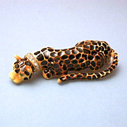 Mint! Vintage Signed Kenneth Jay Lane Leopard Brooch