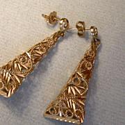 14K Gold Filagree Dangle Earrings