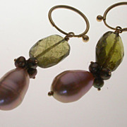 14K Gold Pearl & Peridot Earrings