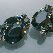Black Crystal Clip on Earrings signed Weiss