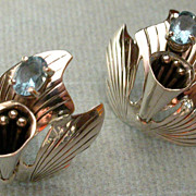 Southwestern Sterling Silver & Blue Topaz Earrings hallmarked