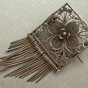SALE PENDING Antique Sterling Silver Filagree Rose Brooch