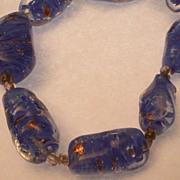 Rare Murano Blue Glass Bead Necklace