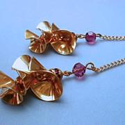 Jules Van Rouge Dangle Purple Rhinestone & Goldtone  Earrings