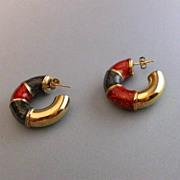 Italian Sterling Silver & Enamel Cuff Earrings