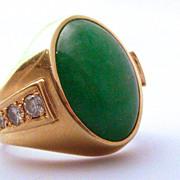 Asian Jade Jadite, Diamond & 18K Gold Ring hallmarked