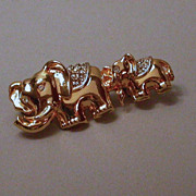 Mother and Baby Elephant Brooch