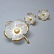 Monet Brooch &  Earring Demi Parure Set hallmarked