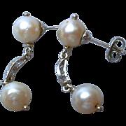 14K Gold , Diamond & Pearl Drop Earrings