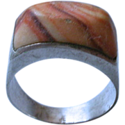 Mexican Sterling Silver & Sandstone Ring hallmarked