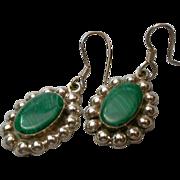 Sterling Silver & Malachite Earrings