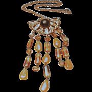 Vintage 1940's Glass Beaded Brass Necklace
