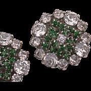Vintage Christian Dior Crystal Clip On Earrings 1959