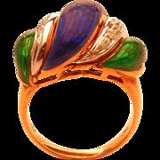 Italian Enameled Diamond 18K Gold Ring hallmarked