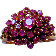 Ruby & 14K Gold Cocktail Cluster Ring 1960's