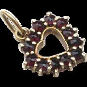 Antique 14K Gold Garnette Heart Pendant Charm hallmarked