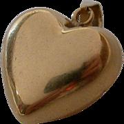 14K Gold Puffy Heart Pendant