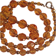 Vintage Czechoslovakian Honey Glass Bead Necklace
