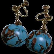1930's Murano Glass Screwback Earrings