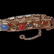 Kafin NY 1950's Goldtone Mesh Charm Bracelet hallmarked
