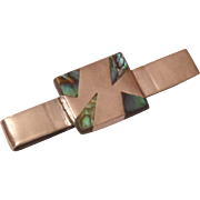 Vintage 1950s Mexican Sterling Silver and Abalone Tie clip hallmarked