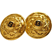 Vintage Signed FENDI  Logo Clip - On Earrings