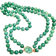 Signed Joseph Mazer Double Strand Jade Green Bead Necklace