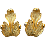 Vintage Dominique Aurientis Goldtone Leaf Clip On Earrings hallmarked