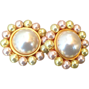 Ben-Amun Faux Pearl Clip-On Earrings Signed