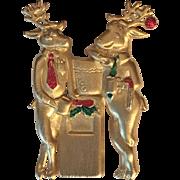 "Vintage JJ Jonette Jones  ""Mr. & Mrs. Reindeer"" brooch hallmarked"