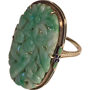 Spectacular One Of A Kind Art Deco Carved Jade 14K Gold Ring Hallmarked