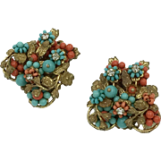 Stunning Vintage Floral Bouquet Clip-On Earrings