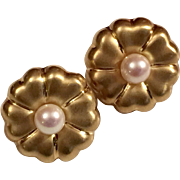 18K Gold & Pearl  Floral Earrings hallmarked ANF