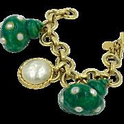 Designer Dominique Aurientis Seashell Charm Bracelet Signed